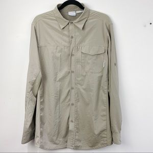 Columbia taupe Omni shield long sleeve shirt
